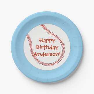 Happy Birthday Personalized Baseball Plates 7 Inch Paper Plate