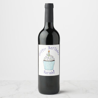 Happy Birthday Personalized Cake Cupcake Candle Wine Label