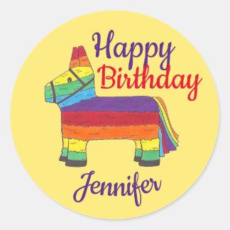 Happy Birthday Personalized Rainbow Donkey Pinata Classic Round Sticker