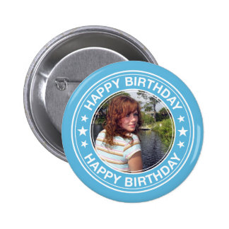 Happy Birthday Picture Frame in Blue 6 Cm Round Badge