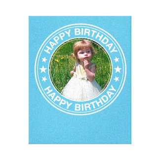 Happy Birthday Picture Frame in Blue Stretched Canvas Prints