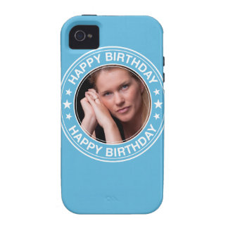 Happy Birthday Picture Frame in Blue Case-Mate iPhone 4 Cases