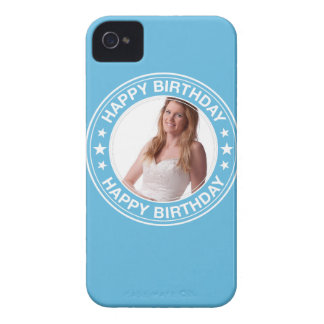 Happy Birthday Picture Frame in Blue Case-Mate iPhone 4 Case