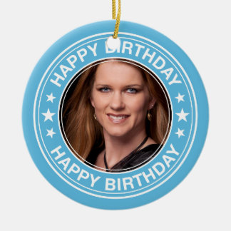Happy Birthday Picture Frame in Blue Christmas Ornament