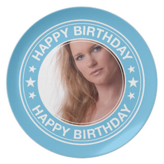 Happy Birthday Picture Frame in Blue Plate