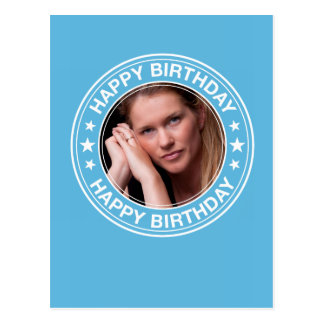 Happy Birthday Picture Frame in Blue Postcard