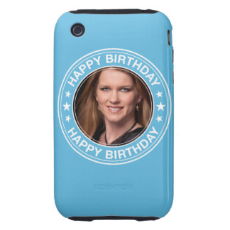 Happy Birthday Picture Frame in Blue Tough iPhone 3 Cases