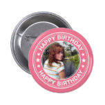 Happy Birthday picture Frame in Pink 6 Cm Round Badge