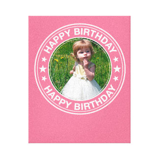 Happy Birthday picture Frame in Pink Canvas Print