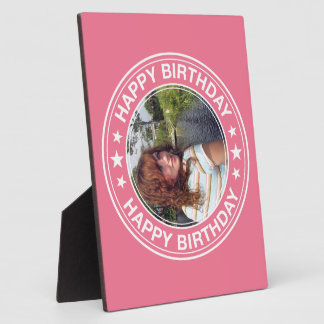 Happy Birthday picture Frame in Pink Photo Plaques