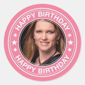 Happy Birthday picture Frame in Pink Round Sticker
