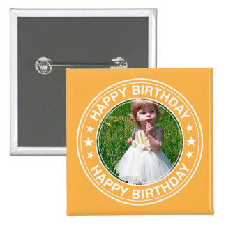 Happy Birthday picture Frame in Yellow 15 Cm Square Badge