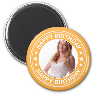 Happy Birthday picture Frame in Yellow 6 Cm Round Magnet