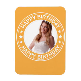 Happy Birthday picture Frame in Yellow Rectangular Photo Magnet