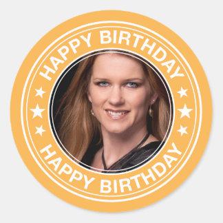 Happy Birthday picture Frame in Yellow Round Sticker