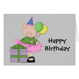 Happy Birthday Pig Card