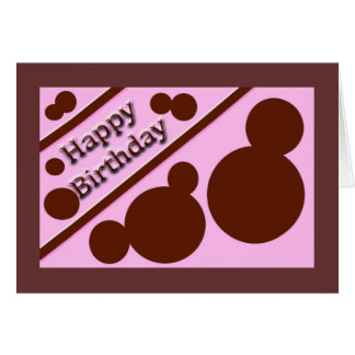 Happy Birthday pink and brown Greeting Card