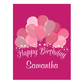 Happy Birthday Pink Balloons And White Stars Postcard