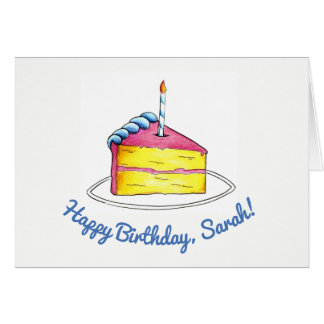 Happy Birthday Pink Cake Slice Candle Personalized Card