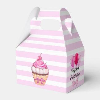 Happy Birthday Pink Cherry Cupcake with Bows Box