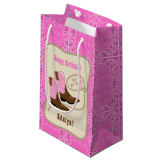 Happy Birthday Pink Cowgirl Boots & Bandana Small Gift Bag