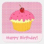 Happy Birthday! Pink Cupcake Stickers