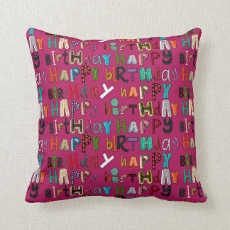 happy birthday pink cushion