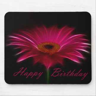 Happy Birthday - Pink Gerber Mouse Pad