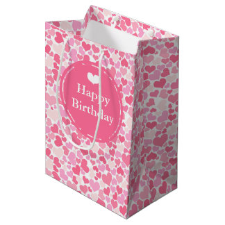 Happy Birthday - Pink Hearts Patterned Gift Bag