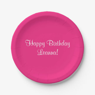 Happy Birthday Pink (Name) Leanna Paper Plate
