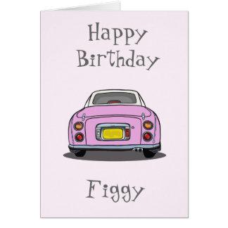 Happy Birthday Pink Nissan Figaro Card
