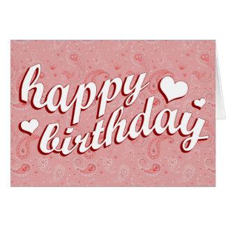 happy birthday pink paisley card