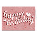 happy birthday : pink paisley : greeting card