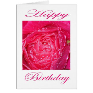 Happy Birthday Pink Rose with Rain Drops Greeting Card