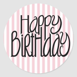 Happy Birthday Pink Stripes Sticker