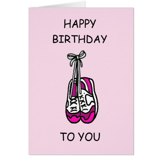 Happy Birthday, pink trainers for female runner. Card
