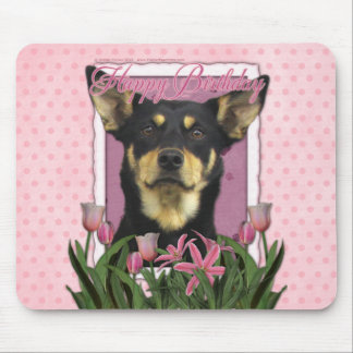 Happy Birthday - Pink Tulips - Australian Kelpie Mouse Mat