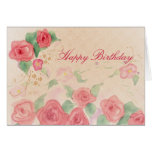 Happy Birthday Pink Victorian Rose Watercolor Art Greeting Card