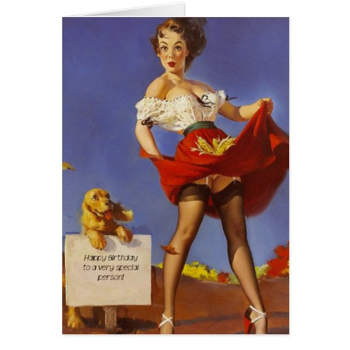 Happy Birthday Pinup Gal And Dog Greeting Card Zazzle