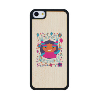 Happy Birthday Playful Monster Carved® Maple iPhone 5C Slim Case