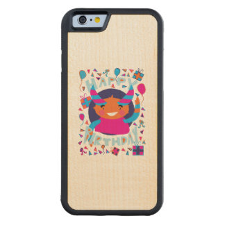 Happy Birthday Playful Monster Carved® Maple iPhone 6 Bumper