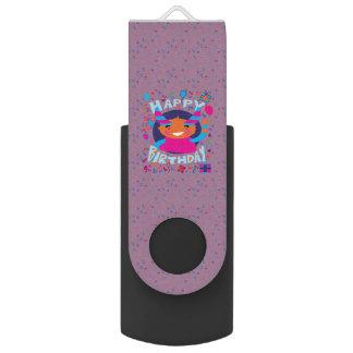 Happy Birthday Playful Monster Swivel USB 2.0 Flash Drive
