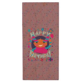 Happy Birthday Playful Monster Wood USB 2.0 Flash Drive