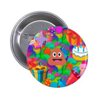 happy birthday poop emoji 6 cm round badge