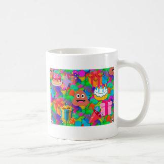 happy birthday poop emoji basic white mug