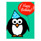 Happy Birthday postcard | penguin with red balloon