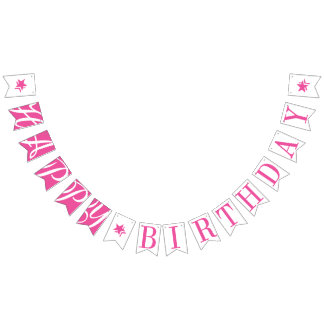 HAPPY BIRTHDAY Pretty Pink And White Bunting