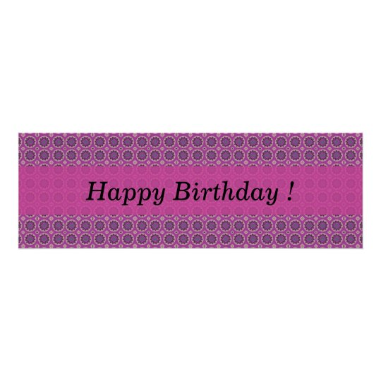 Happy Birthday Pretty Pink Floral Pattern Poster