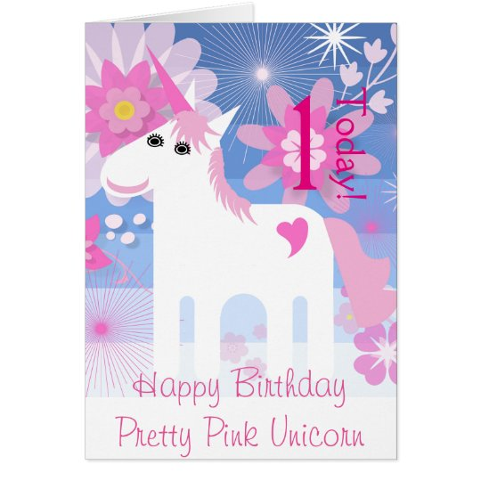 """Happy Birthday Pretty Pink Unicorn"" Age Card"
