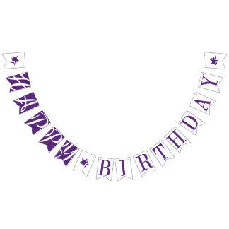 HAPPY BIRTHDAY Pretty Purple And White Bunting